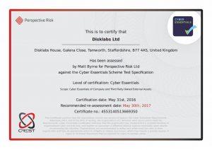 Disklabs Cyber Essentials Certificate 2016