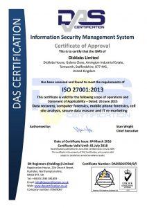 Disklabs ISO 27001 2013 cert