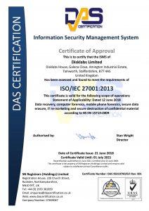 ISO27001 2013 2018-2021 Disklabs Certificate