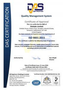 ISO9001 2015 2018-2021 Disklabs Certificate