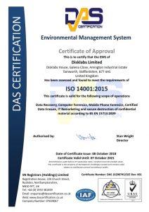 Disklabs 14001 Certificate for Envornmental Management