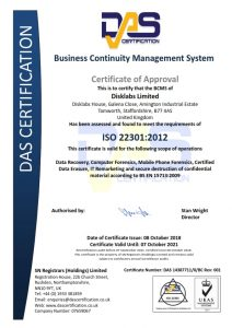 Disklabs 22301 Certificate for Business Continuity Management