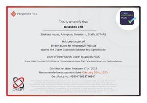 Disklabs Cyber Essentials Plus Certificate 2019